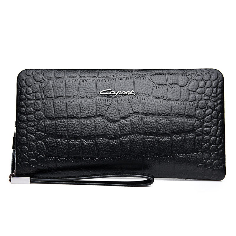 New Fashion Alligator Business Men's Long Wallets Natural Real Leather Male Cow Genuine Leather Cash Purses Clutch Card Holders