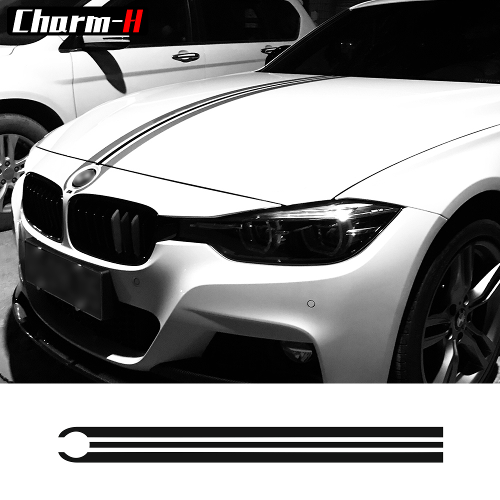 Car Hood Bonnet Racing Stripes Lines Decals Engine Cover Stickers for BMW e46 e36 e90 f30 f31 f34 e39 e60 f10 f11 f07 g30
