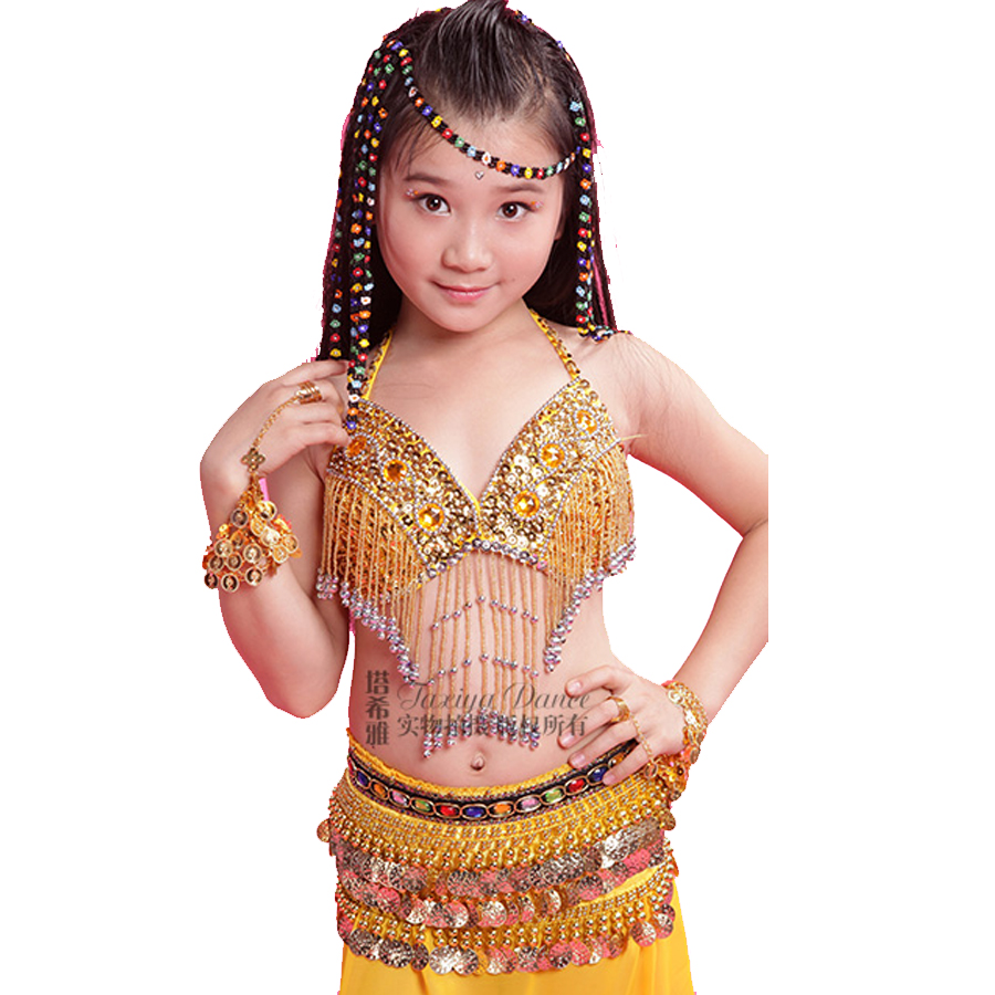 Aliexpress.com  Buy Girl Bollywood Dance Costumes BraSkirtWaist Chain Children Belly Dance Costume Set Rose/Yellow/Red Kids Indian Clothes India from
