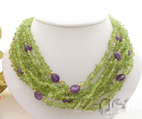 Lii Ji 7 Rows Natural Peridot Chips Amethyst 925 Sterling Silver Necklace 18