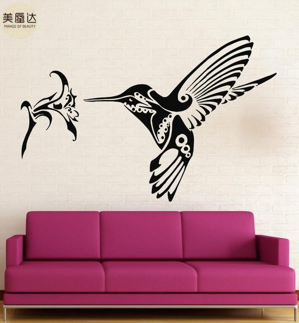 Wall Stickers Vinyl Decal Hummingbird bird flower Great Rooms Decor