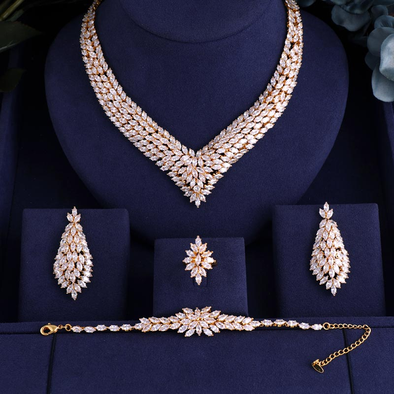 Luxury AAA cubic zirconia Gold necklace ,drop earrings ,bracelet and ring 4pcs dubai full wedding bridal jewelry set for womanLuxury AAA cubic zirconia Gold necklace ,drop earrings ,bracelet and ring 4pcs dubai full wedding bridal jewelry set for woman