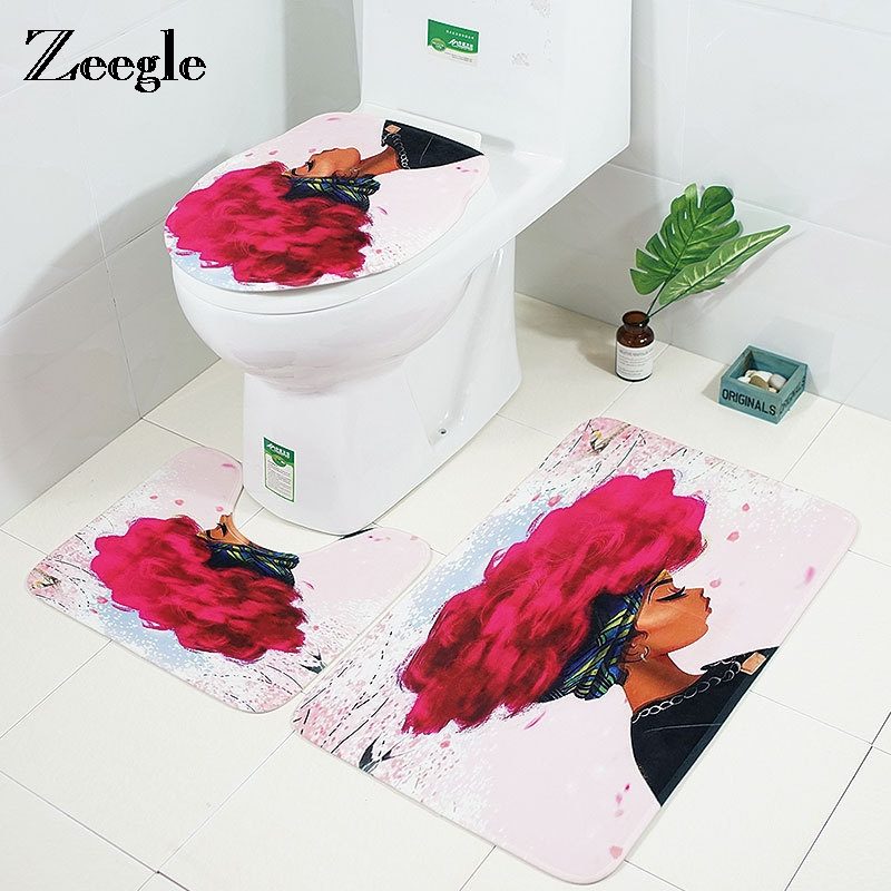 Awesome Us 11 42 44 Off Zeeglen 3Pcs Set Bath Mat Toilet Rug India Girl Pattern Bathroom Floor Rugs Toilet Seat Cover Microfiber U Shaped Bath Mat Set In Bralicious Painted Fabric Chair Ideas Braliciousco
