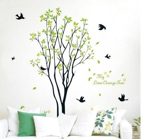Nagy Lemon Tree Birds fal matrica matricák zöld növények - Lakberendezés