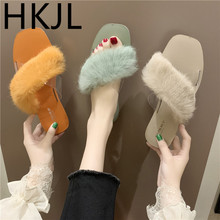 HKJL Fashion 2019 summer new Korean version wearing wild candy color transparent flat slippers plush women A754