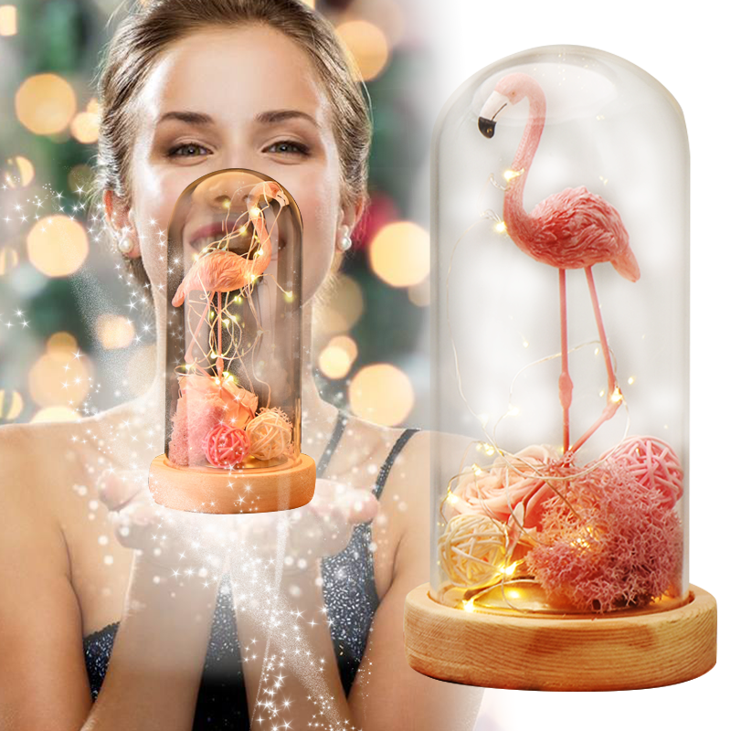 Dropshipping LED Lighted Pink Flamingo Eternal Rose Artificial Flowers In Glass Dome Night Lights Table Lamp Love Gift for Girls