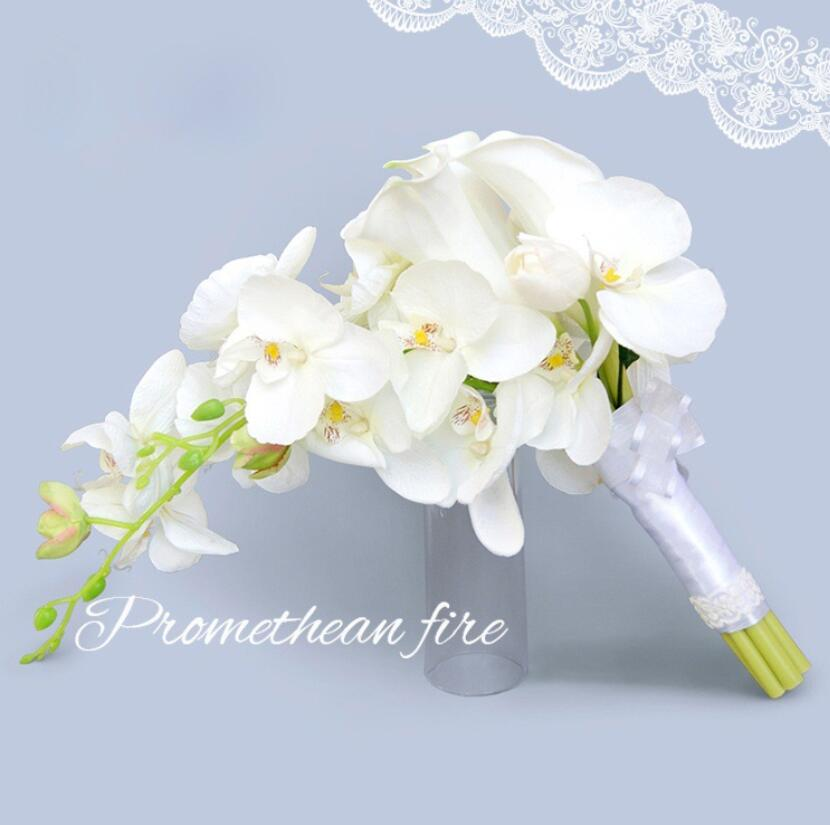 Romantic Waterfall Wedding Bouquet white Bridal Bouquet Artificial Silk Flowers For Wedding Decoration S155
