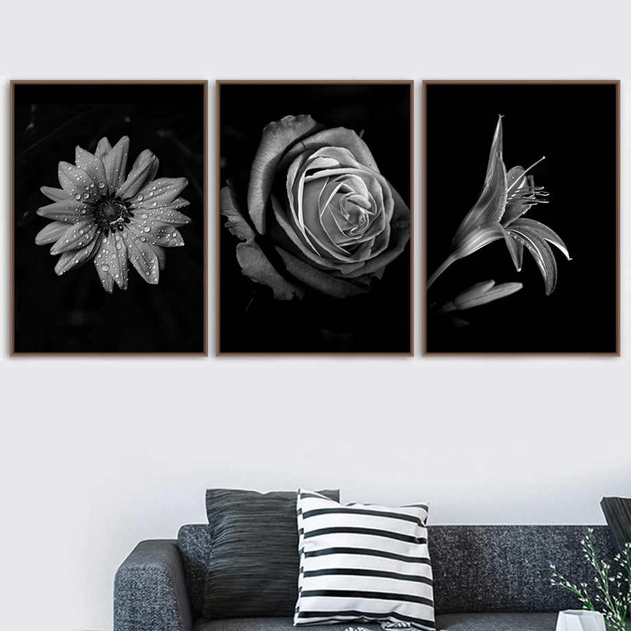 Rose Lily Chrysanthemum Posters And Prints Wall Art Canvas Painting Black White Landscape Wall Pictures For Living Room Decor Painting Calligraphy Aliexpress