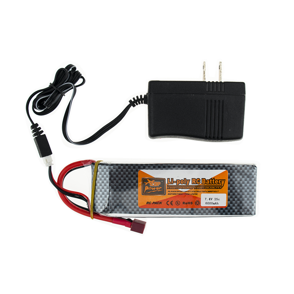 2Cells T XT60 RC Batteria 7.4V 6000MAH Lipo 25C With Charger 1pcs For Helicopter Quadcopte Drone 3pcs battery and european regulation charger with 1 cable 3 line for mjx b3 helicopter 7 4v 1800mah 25c aircraft parts