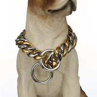 Silver&Gold Color Stainless Steel Pet Supplies 14 28 Inches Curb Link Chain Necklace Choker Stainless Steel 19mm Pet Dog Collar