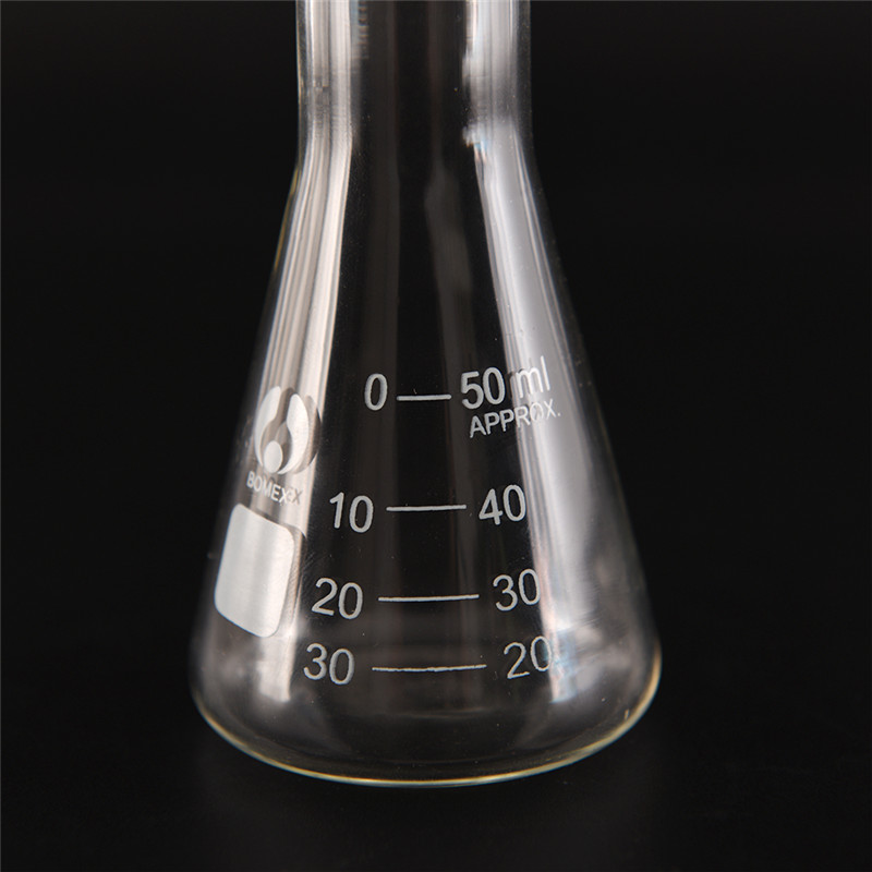 50ml Clear Lab Conical Flask Glass Scientific Safe Glassware Laboratory School Research Supply Glass Erlenmeyer Flask 1pc