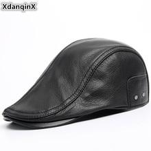 XdanqinX Genuine Leather Hat Autumn Winter Mens Sheepskin Warm Beret Sombrero De Cuero Adjustable Size Brand Tongue Cap For Men