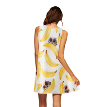 European Style Chiffon Dress Summer Casual Loose O-Neck Sleeveless Print Beach Dresses Plus Size Women Clothing WAIBO BEAR