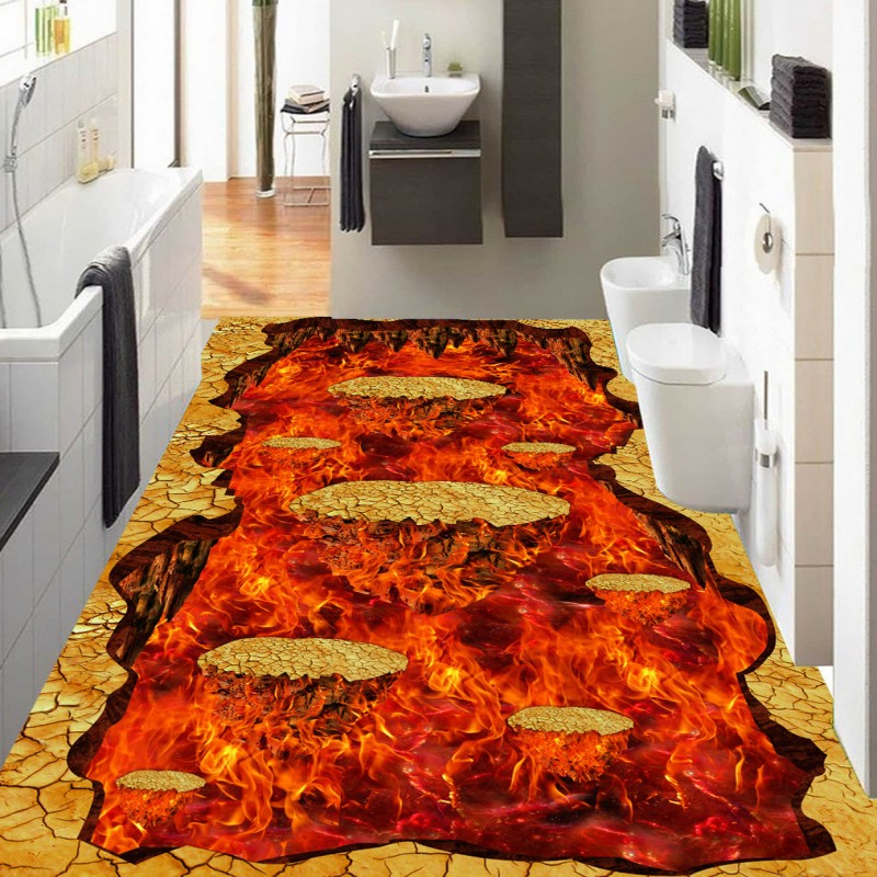 Free Shipping Volcanic lava street park 3D PVC floor stickers kitchen thickened waterproof living room flooring wallpaper mural
