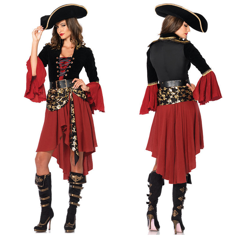 Halloween Sexy Femmes Pirate Costume Partie de Poule Femmes Pirates Capitaine Cosplay Fantaisie Robe