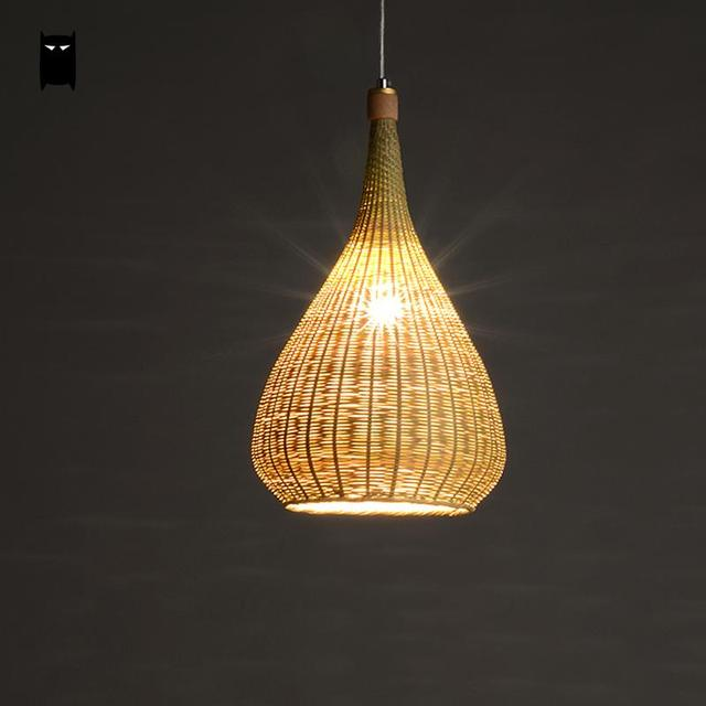 Original bamboo wicker rattan lampshade hand woven craft round original bamboo wicker rattan lampshade hand woven craft round funnel pendant light fixture asian rustic mozeypictures Images