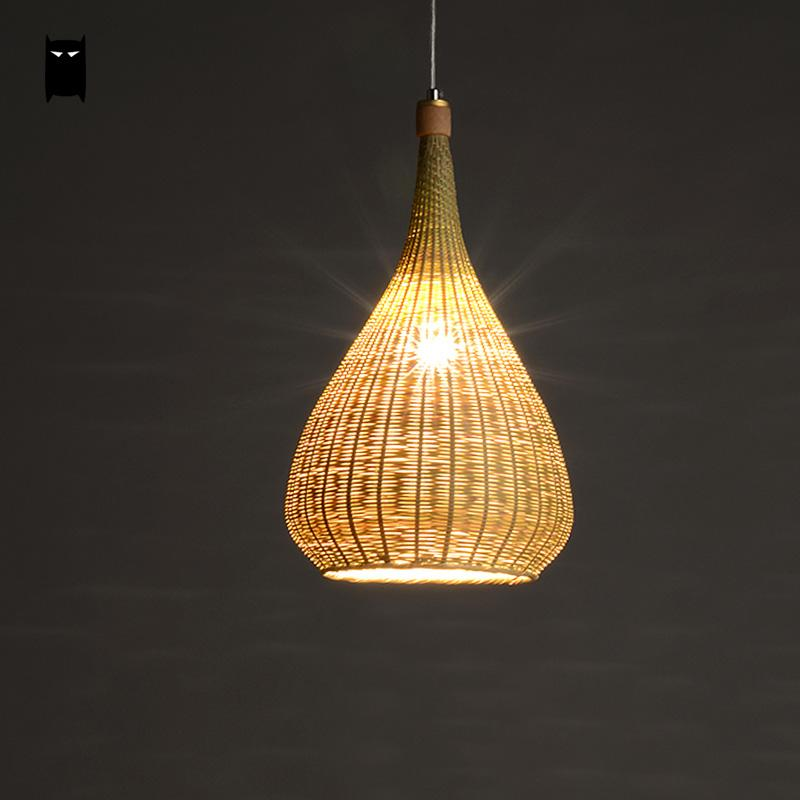 Original Bamboo Wicker Rattan Lampshade Hand-Woven Craft Round Funnel Pendant Light Fixture Asian Rustic Japanese Lamp Design