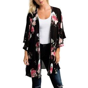 Summer Beach Clothes Women Chiffon Shawl Floral Print Kimono Cardigan Top Large Size Loose Beachwear Cover Up Blouse /PT