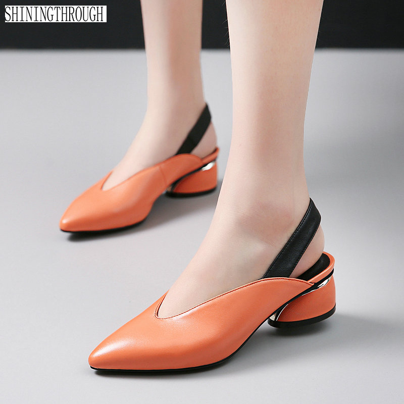 2019 new slingbacks women pumps pointed toe shallow genuine leather women shoes high heels shoes woman