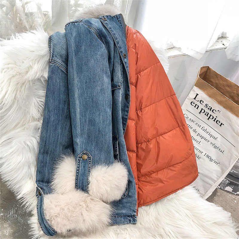 冬ダウンジャケットの女性 2018 デニムパーカービッグキツネの毛皮の襟ダウンライナージーンズコート女性厚く暖かいダウンパーカー 2187