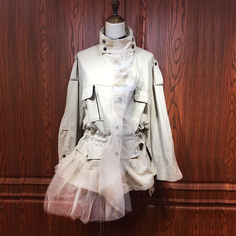 Casual Longue Tranchée Pour Mode Nouveau Apricot Les Femmes green Manteaux 2018 Debout Couture Maille Col Manteau Getsring Irrégulière F7Oqwx0688
