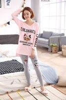 2018 Spring New Frame Cotton Single Female Printing Cartoon Sweet Casual Fashion Pajamas M L XL