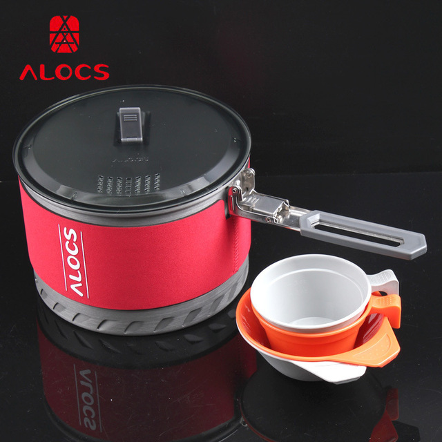 Alocs Fast-Heating Outdoor Camping Cookware Utensils 1.3/2 L Camping Pot Heat Exchanger with Bowl Cup Outdoor Survival Tools