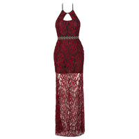 LASPERAL 2017 New Sexy Hollow Out Halter Dress For Women Bordeaux Red Long Solid Lace Elegant