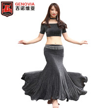 3pcs full set Tank Top+Fishtail Long Skirt+Necklace Belly Dance Costumes Women Nightclub DJ Halloween Dancewear Costume(China)