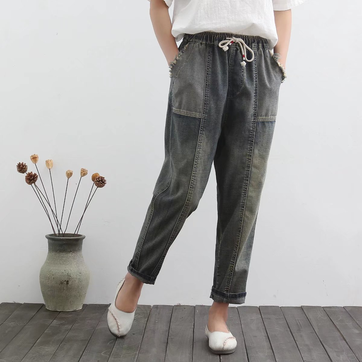 Women Spring Summer Loose Large size Jeans 2017 Elastic Waist Denim Trousers High Quality Pockets Spliced New Denim Pants plus size pants the spring new jeans pants suspenders ladies denim trousers elastic braces bib overalls for women dungarees