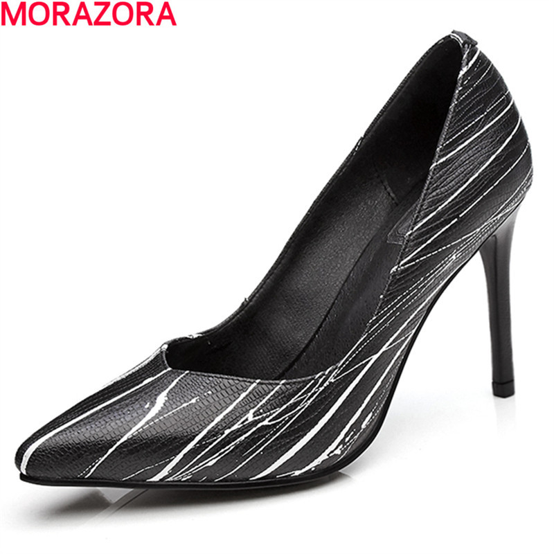 MORAZORA new arrival hot sale simple fashion high quality cow leather women pumps high heels pointed toe party shoes woman fashion new spring summer med high heels good quality pointed toe women lady flock leather solid simple sexy casual pumps shoes