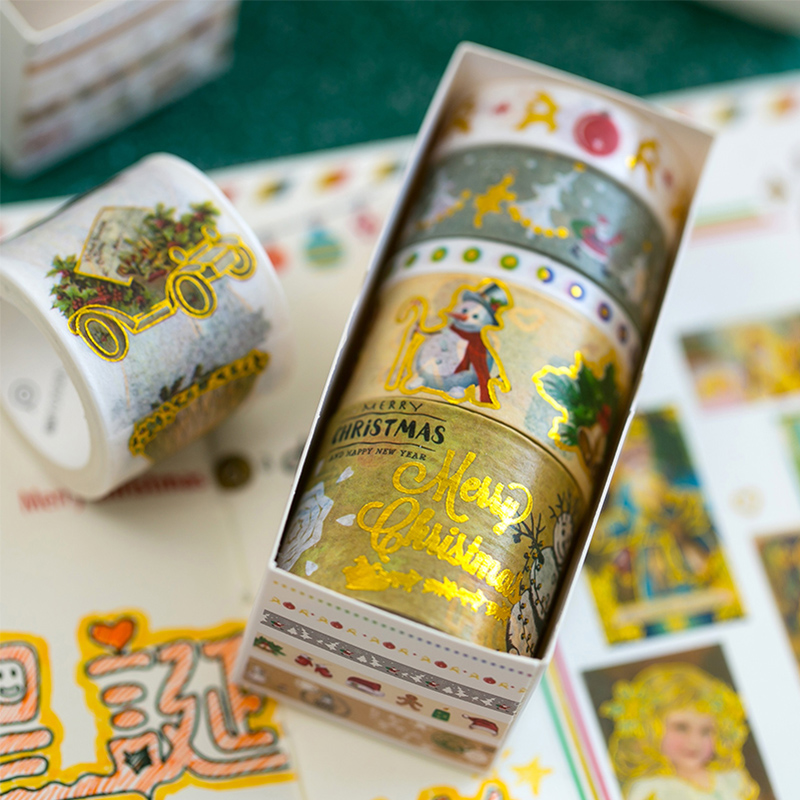 5 Rolls/box Christmas Festival Theme Washi Tape Set Adhesive Tape Diy Scrapbooking Sticker Label Craft Masking Tape