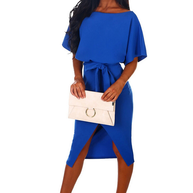 Hot 2019 Summer Dress Work Office Short Sleeve O-Neck Elegant Ladies Bodycon Bandage Belt Slim Party Dress Vestidos Plus Size 4