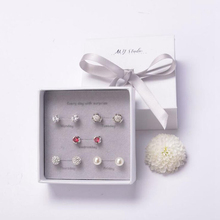 Ruifan One Week 5 pairs/set Small Stud Earrings Set with Box 2019 Womens Earring 925 Sterling Silver Stone YJS004