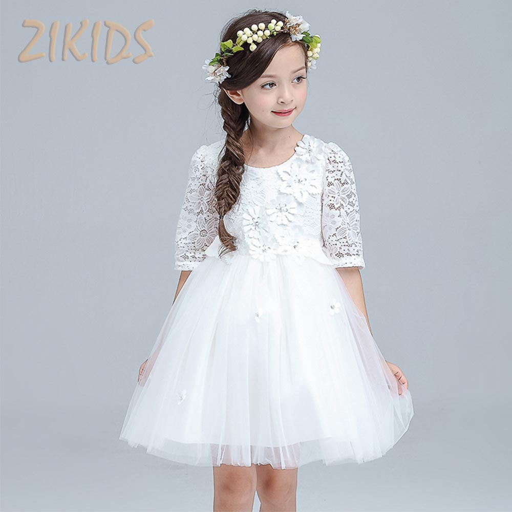 Puff Sleeve Kids Lace Tulle Dress For Girls Wedding And