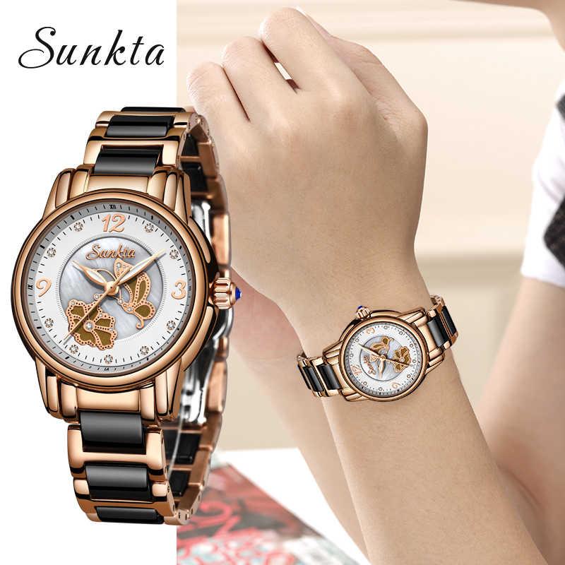 SUNKTA marka luksusowe kobiety zegarki wodoodporna moda Ladys zegarek dla kobiety panie zegarek na rękę Relogio Feminino Montre Femme
