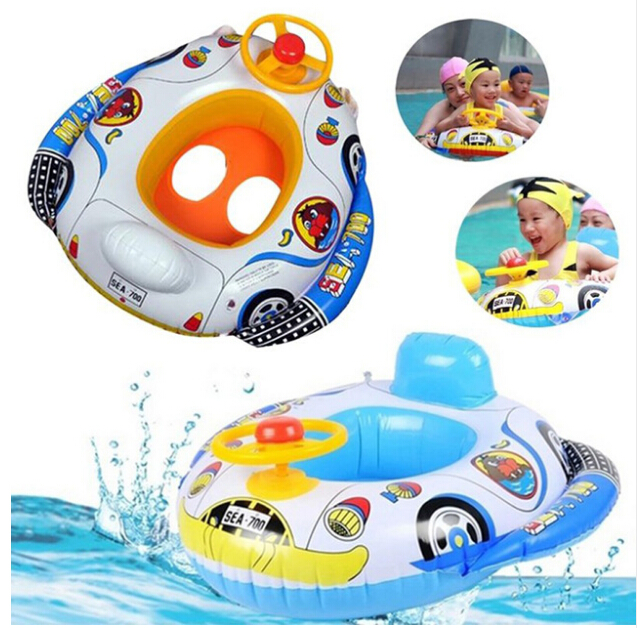Children Water Inflatable Float Toys Cute Cartoon Car Pattern Baby Steering Wheel Swimming Pool Kids Fun Water Sports Game Gift
