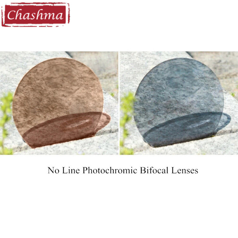 Chashma No Line Transition Bifocal Lenses Tint Color Round and Flat Shape Photochromic Bifocal Optical Lenses