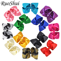 12PCS/LOT 8 Inch Bling Sequin Hair Bow Hairgrips Multi color Grosgrain Ribbon Headwear for Woman Girls Hair Accessories