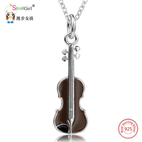 925 Sterling Silver Chain Violin Pendant Choker Necklace Fashion Jewelry Cello Chokers Necklaces Pendants For Women