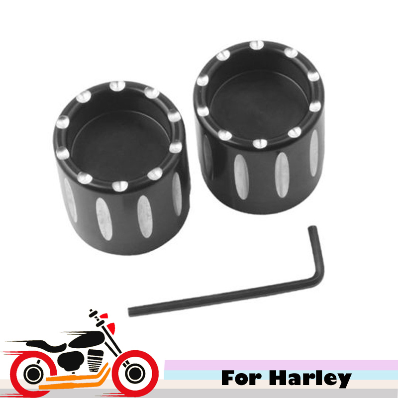 CNC Motorcycle Front Axle Cover Ornamental Caps Bolt Kits for Harley Sporsters Softails Dynas V-Rod Road Glides Street Glide