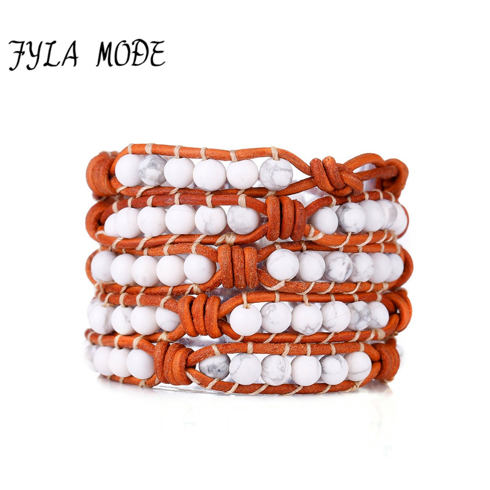 Fyla Mode New Howlite Stones Beads 5 Wrap Bracelets Leather Bracelet With Handmade Knots Wholesale Leather Beaded Jewelry