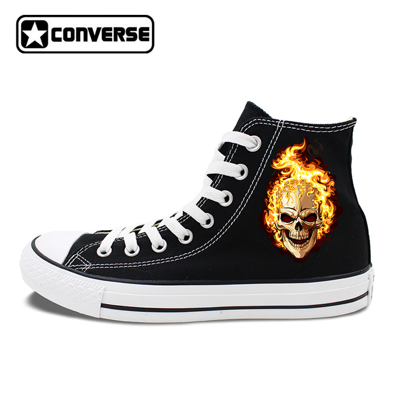 Original Design Flaming Skull Black High Top Converse Chuck Taylor Shoes Mens Womens Canvas Sneakers ...