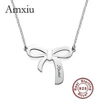 Amxiu 100% 925 Sterling Silver Bow Knot Pendant Necklace Customize Names Letters Personalized Name Necklace Jewelry Women Gifts