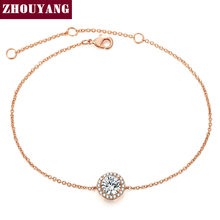 Round Micro Mosaic Cubic Zirconia Rose Gold Color Bracelet Jewelry Austrian Crystal Top Quality Wholesale ZYH165
