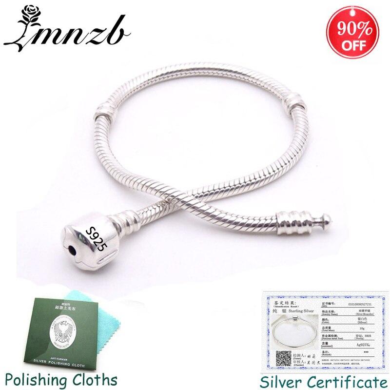Gros 97% de réduction! Bracelet à breloques Original en argent massif 925 avec certificat doux et lisse Bracelet en os de serpent pour femmes