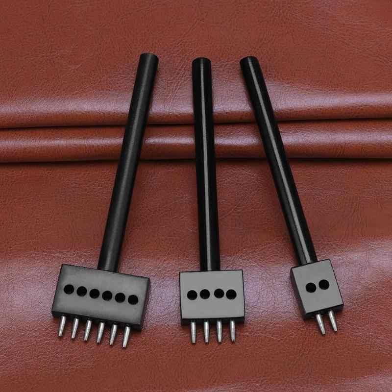 5mm DIY Leder Handwerk Stanzen Werkzeug 2/4/6 Prong Loch Reihe Circular Cut Genäht Loch Abstand bohren Leder Handwerk Werkzeug