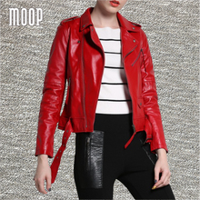 Red genuine leather jackets women lambskin motorcycle jacket coat with belt chaqueta mujer jaqueta de couro