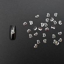 50 pçs prata bitcoin bit moeda btc liga oco metal 3d decoração da arte do prego charme jóias accessoires diy ferramentas nova chegada