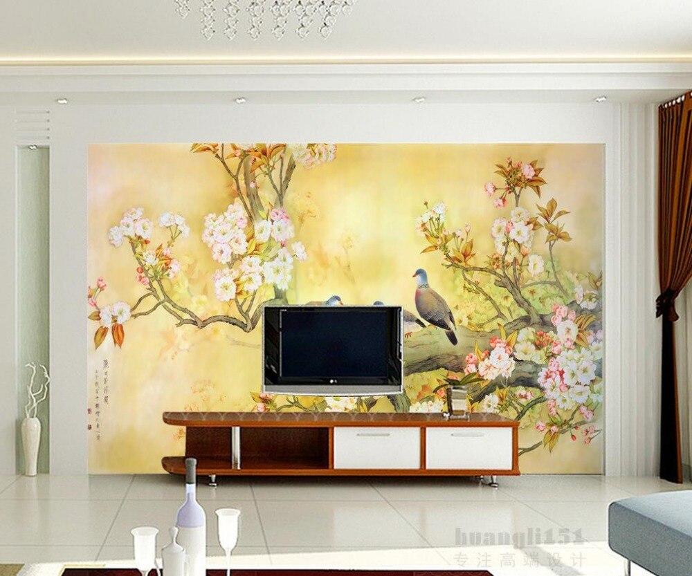 US $11.2 65% OFF|Fantasie schöne handbemalte blumen und vogel 3d tapete für  moderne wohnzimmer wand Home Dekoration-in Tapeten aus Heimwerkerbedarf ...